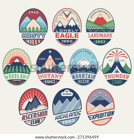 Set of alpinist and mountain climbing outdoor activity vector labels. Logotype templates, badges, emblems, signs color graphic collection. National parks, nature preserves tourism exploration symbols - stock vector