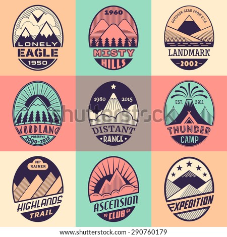 Set of alpinist and mountain climbing outdoor activity vector labels on color background.Logotype templates,badges,emblems,signs graphic collection.National parks,nature preserves exploration symbols - stock vector