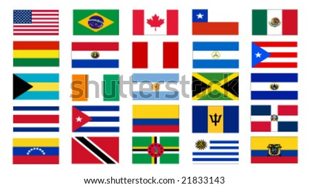 set of america north and south flags vector illustration - stock vector