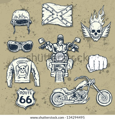 Set of american biker attributes - stock vector