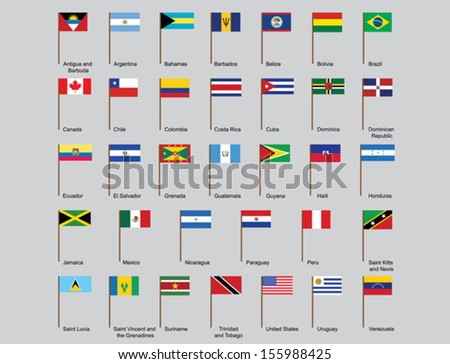set of American countries flags vector illustration - stock vector