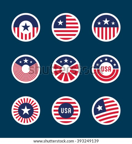 Set of American flag badges (7) - stock vector