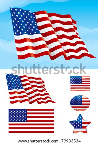 Set of American flag. Flag of USA on blue sky, Isolated on white background and icons with it - star, square and oval shape - stock vector
