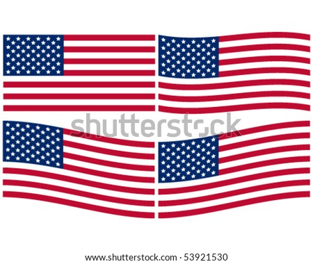 Set of American Flags - stock vector
