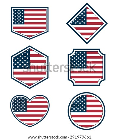 Set of American flags and hearts, vector set of 4th july american independence day background, USA - stock vector