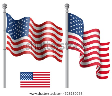 Set of American flags with the flagpole vector illustration. Saved in EPS 10 file with transparencies. - stock vector
