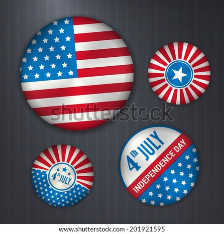 Set of american vector badges - independence 4 July. isolated from background. Layered.