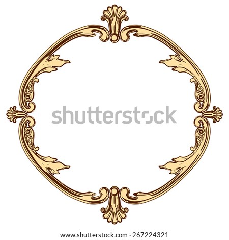 set of an ancient gold  ornament on a white background