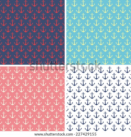 Set of anchor pattern backgrounds - stock vector