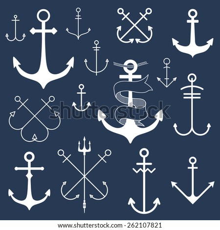 Set of anchors on blackboard - stock vector