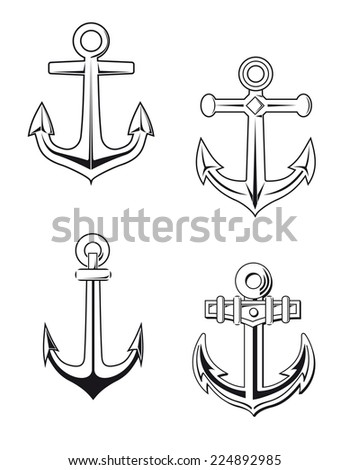 Set of anchors symbols for marine design