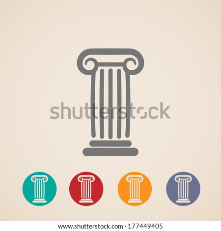 set of ancient column icons - stock vector