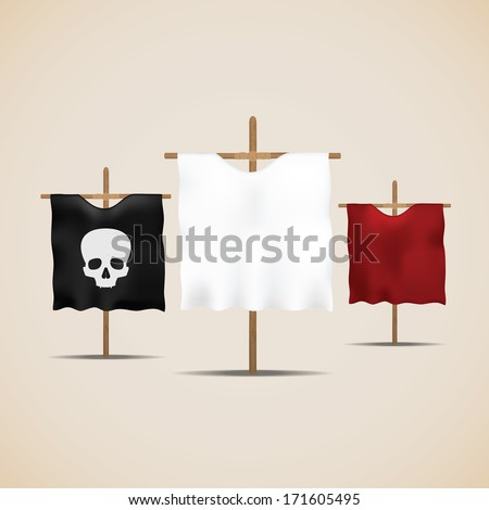 Set of ancient flags. Vector illustration - stock vector