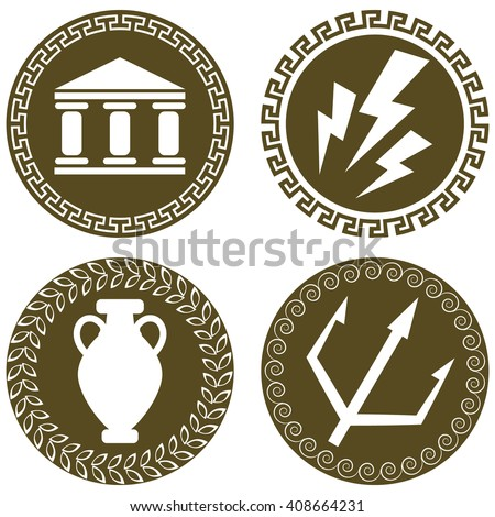 Set Ancient Flat Logos Temple Zeus Stock Vector 408664231 Shutterstock