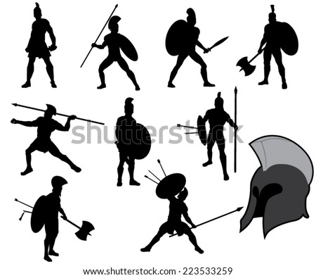 Set of Ancient Greek Warriors Silhouettes. Vector Image - stock vector