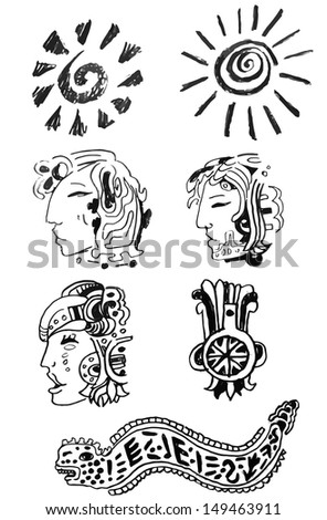 Set of ancient maya ornaments - stock vector