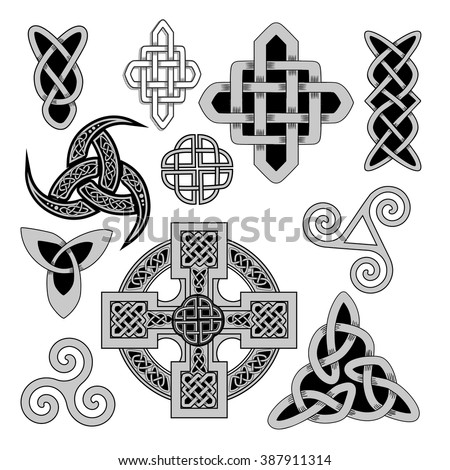 Set Ancient Pagan Scandinavian Sacred Symbols Stock Vector 2018