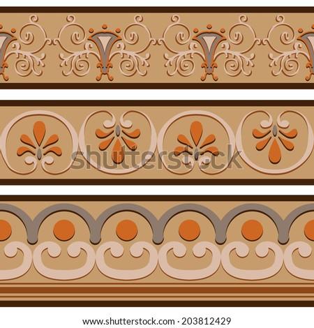 set of ancient roman ornaments border patterns vector illustration - Ancient Rome Designs