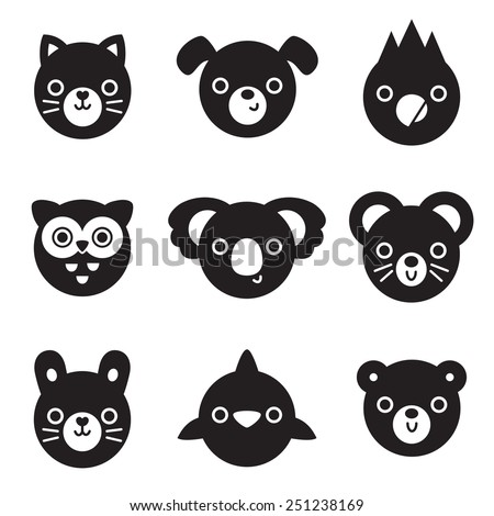 Set of animal and bird face silhouettes isolated on white for stickers, cards, labels and tags. Minimal style, includes cat, dog, mouse, rabbit, owl, dolphin, koala, parrot, bear. - stock vector