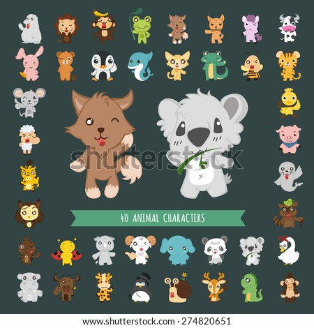 Set of 40 Animal costume characters , eps10 vector format - stock vector