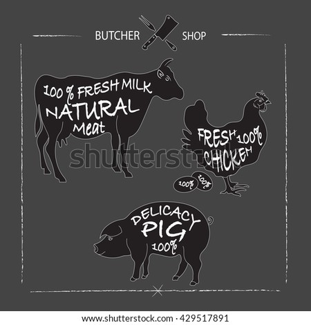 Set of animal cuts for butcher's shop. Animal silhouettes isolated on a chalkboard background, beef cow,  pork, chicken. Vector illustration - stock vector