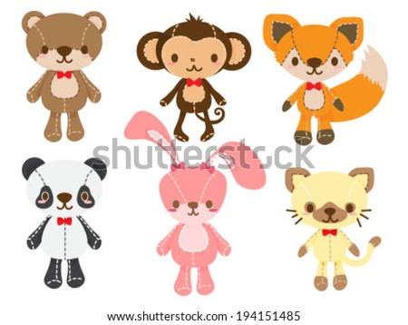 Set of Animal Dolls - stock vector