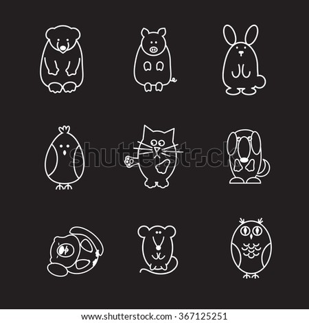 set of animal doodle contours, like  bear, pig, rabbit, chicken, cat, dog, marmot, mouse, owl,  line icons on black background