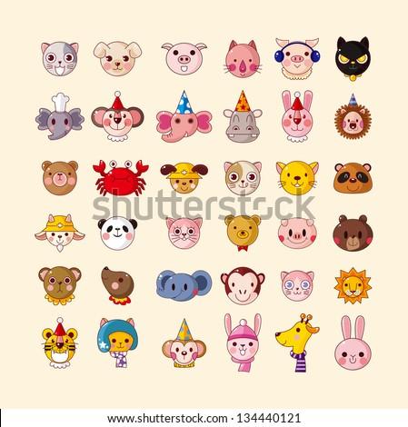 set of animal head icons - stock vector