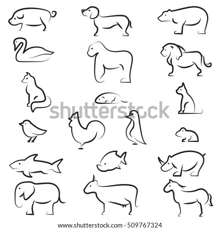 set animal icon set outlines animals stock vector 509767324 shutterstock - Animal Outlines