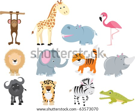 set of animal icons and cartoons of wild animals. - stock vector