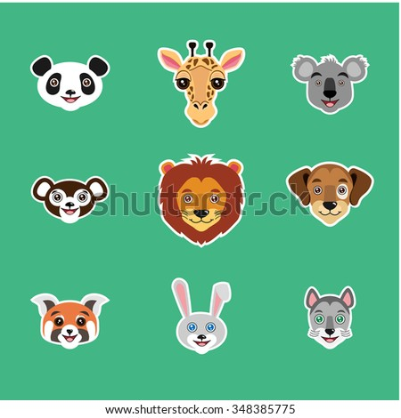 Set of animal portraits. Children cartoon illustration. Vector 10EPS file. Lion, panda, koala, monkey,giraffe, dog, red panda, rabbit, cat. - stock vector