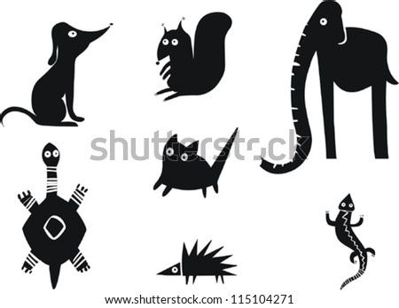 Set of animal silhouettes - stock vector