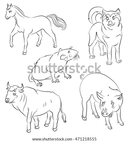 Set of animals: bull, dog, horse, rat and pig. For your convenience, each significant element is in a separate layer. Eps 10
