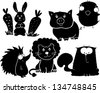 set of animals, cartoon stickers for wall or clothes - stock vector