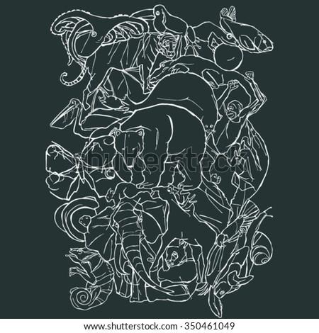 Set of animals contour - stock vector