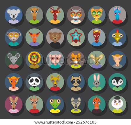 Set of animals faces circle icons set in Trendy Flat Style. zoo infographics design. Vector - stock vector