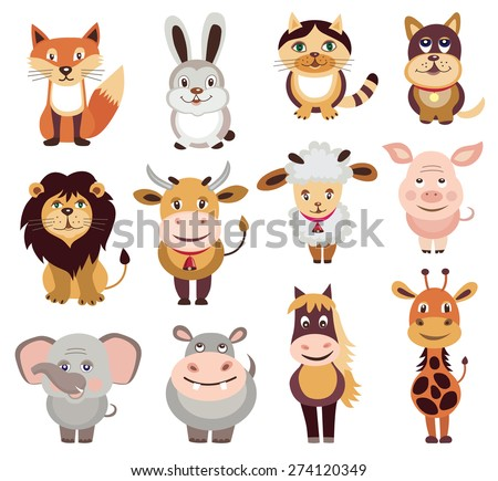 set of animals icons (vector illustration) - stock vector