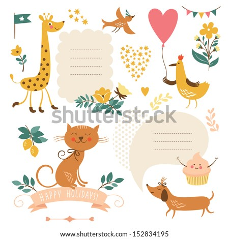 Set of animals illustrations and graphic elements for invitation cards, party invitation, holiday gifts - stock vector