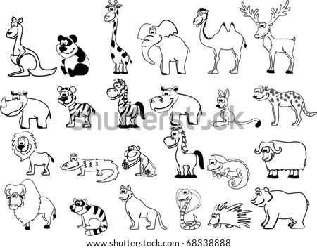 set of animals including lion, kangaroo, giraffe, elephant, camel, antelope, hippo, tiger, zebra, rhinoceros - stock vector