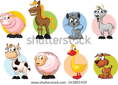 Set of animals on farm - vector  - stock vector