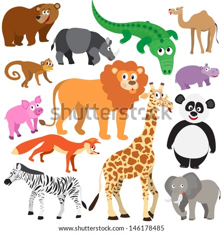 Set of Animals on white background. Wild animals isolated - stock vector