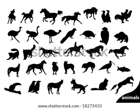 set of animals silhouettes