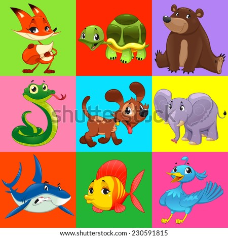 Set of animals with background. Cartoon and vector characters.  - stock vector