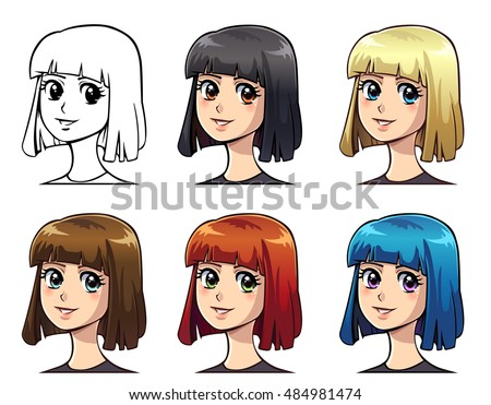 Set Anime Girl Color Straight Bob Stock Vector - Anime bob hairstyle