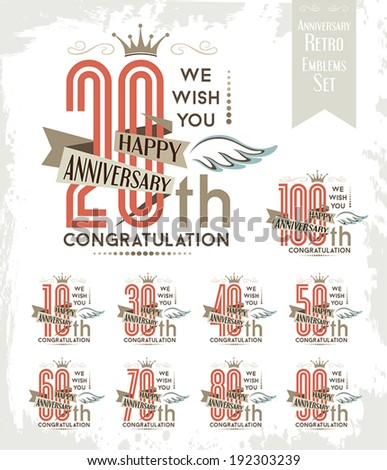 Set of anniversary design elements. - stock vector