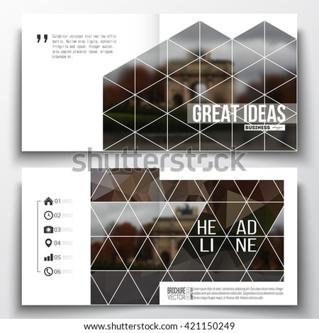 Set of annual report business templates for brochure, magazine, flyer or booklet. Polygonal background, blurred image, urban landscape, Paris cityscape, modern triangular vector texture. - stock vector