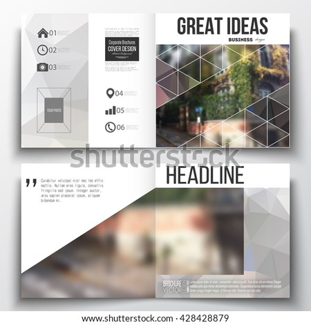 Set of annual report business templates for brochure, magazine, flyer or booklet. Polygonal background, blurred image, urban landscape, street in Montmartre, Paris cityscape, triangular vector texture - stock vector
