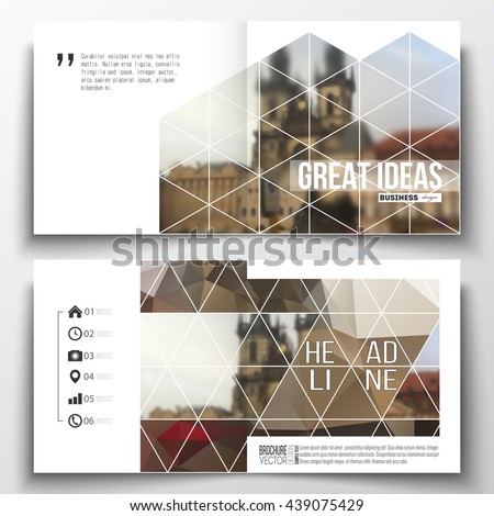 Set of annual report business templates for brochure, magazine, flyer or booklet. Polygonal background, blurred image, urban landscape, cityscape of Prague, modern triangular texture