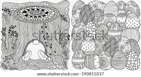 Set Of Anti Stress Coloring Book Pages For Adult Basket With Easter Eggs And Bunny