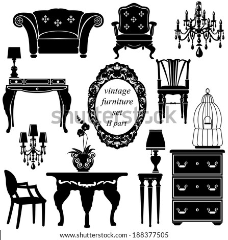 Set of antique furniture - isolated black silhouettes - stock vector